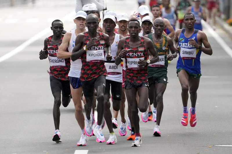 Eliud Kipchoge, of Kenya, leads during the men's marathon astatine  the 2020 Summer Olympics, Sunday, Aug. 8, 2021, successful  Sapporo, Japan. (AP Photo/Shuji Kajiyama)