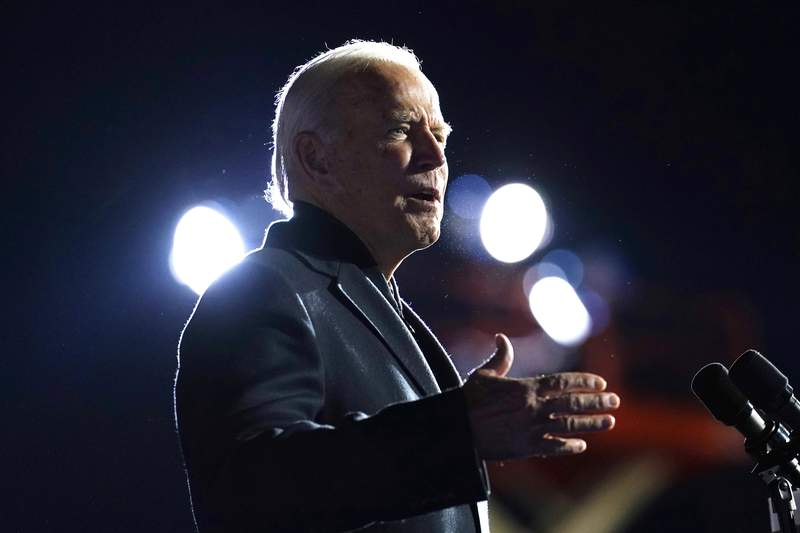 Democratic presidential candidate former Vice President Joe Biden speaks at a rally at Belle Isle Casino in Detroit, Mich., Saturday, Oct. 31, 2020, which former President Barack Obama also attended. (AP Photo/Andrew Harnik)