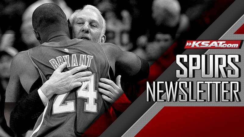 (Kobe Bryant and Gregg Popovich embrace during Bryant's final game in San Antonio.)