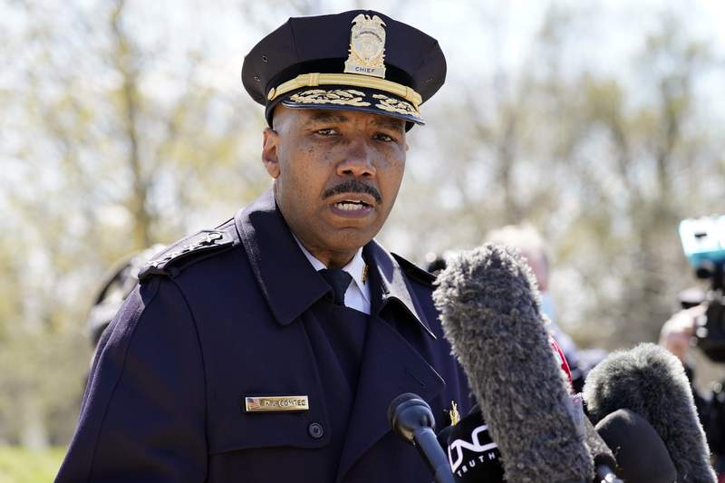 FILE - In this April 2, 2021, file photo, Washington Metropolitan Police Department chief Robert Contee speaks during a news conference in Washington. Political hand-wringing in Washington over Russia's hacking of federal agencies and meddling in U.S. politics has mostly overshadowed a worsening digital scourge with a far broader wallop: crippling and dispiriting extortionary ransomware attacks by cybercriminal mafias. All the while, ransomware gangsters have become more brazen and cocky as they put more and more lives and livelihoods at risk. This week, one syndicate threatened to make available to local criminal gangs data they say they stole from the Washington, D.C., metro police on informants. (AP Photo/Alex Brandon)