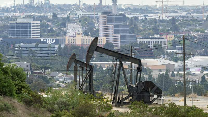 The Inglewood Oil Field on March 9, 2020 in Los Angeles, California. Photo by Lionel Hahn/Abaca/Sipa USA(Sipa via AP Images)
