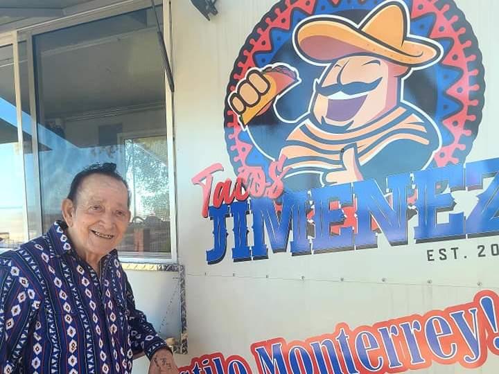 Flaco Jimenez outside the revamped Tacos Jimenez food truck.