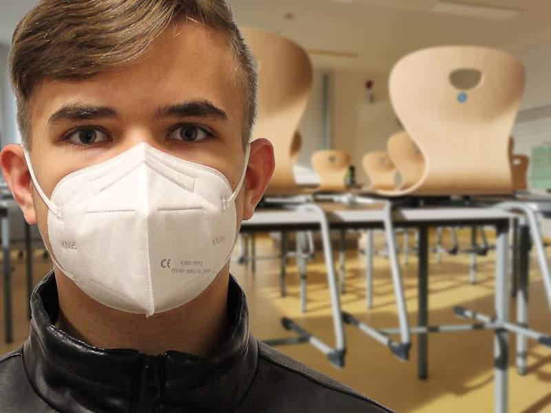 Student wearing mask stock photo