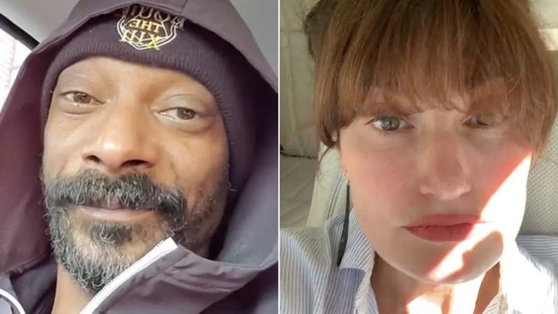 Rapper Snoop Dogg and actress Idina Menzel shared videos of themselves listening to each other's songs.