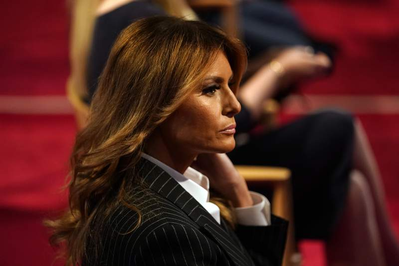 First lady Melania Trump sits before the first presidential debate Tuesday, Sept. 29, 2020, at Case Western University and Cleveland Clinic, in Cleveland, Ohio. (AP Photo/Julio Cortez)