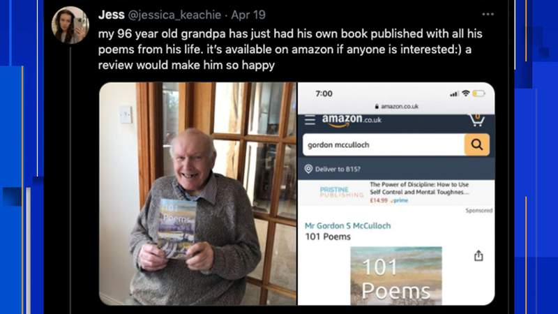 Tweet asking for reviews for a grandpa's book of poems goes viral on Twitter in April 2021.