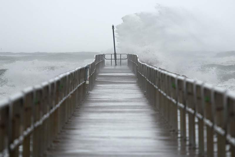 Waves crashed into the North Packery Channel Jetty ahead of Tropical Storm Nicholas in Corpus Christi on Sept. 13, 2021.