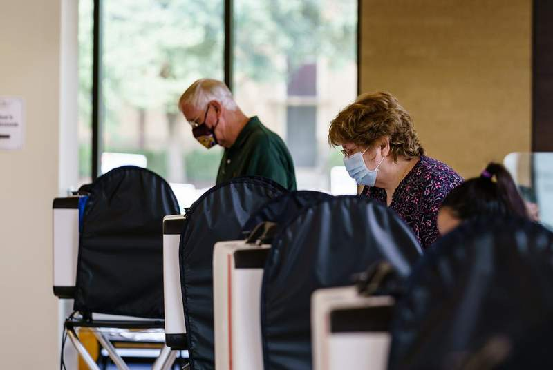 Voters cast their ballots at the Performing Arts Center at Texas State University in San Marcos. (Credit: Jordan Vonderhaar for The Texas Tribune)