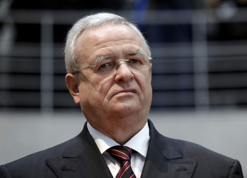 FILE - In this Thursday, Jan. 19, 2017 file photo Martin Winterkorn, former CEO of the German car manufacturer 'Volkswagen', arrives for a questioning at an investigation committee of the German federal parliament in Berlin, Germany. A German court has ruled that former Volkswagen CEO Martin Winterkorn must face trial on a second set of charges related to the company's diesel emissions scandal, these ones related to alleged market manipulation. (AP Photo/Michael Sohn, file)