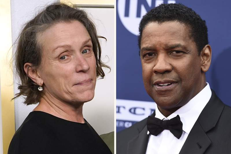 """In this combination photo, Frances McDormand, left, poses in the press room at the Oscars on April 25, 2021, at Union Station in Los Angeles and Denzel Washington arrives at the 47th AFI Life Achievement Award on June 6, 2019 in Los Angeles. Joel Coen's """"The Tragedy of Macbeth"""" starring McDormand and Washington will have its world premiere on opening night of the New York Film Festival, organizers said Thursday, July 22, 2021. The 59th edition of the festival kicks off Sept. 24. (AP Photo)"""