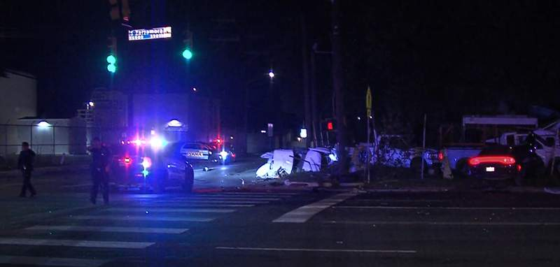 A driver is dead after San Antonio police say another vehicle ran a red light and crashed into his pickup truck overnight on the South Side.