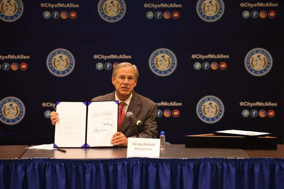 Gov. Greg Abbott signed Senate Bill 576 into law on Sept. 22 in McAllen. According to a news release, SB 576 enhances the criminal penalty for human smuggling when a payment is involved. SB 576 also eliminates the requirement of proof for prosecution that a smuggler intended to receive payment for the crime of human smuggling. Photo Courtesy: Office of the Governor