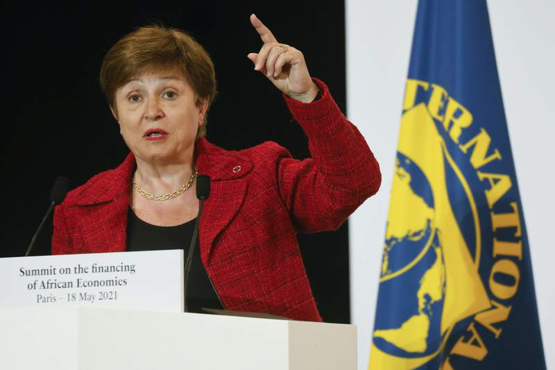 FILE - In this May 18, 2021 file photo, International Monetary Fund Managing Director Kristalina Georgieva speaks at the end of the Financing of African Economies Summit, in Paris. Georgieva met on Wednesday, Oct. 6 with her agency's executive board, which is conducting an investigation into alleged data-rigging at the World Bank, the sister global lender where she was formerly was a top executive. The IMF is investigating allegations that in 2018 World Bank employees were pressured to alter data affecting its business-climate rankings of China and other nations.  (Ludovic Marin, Pool via AP, File)