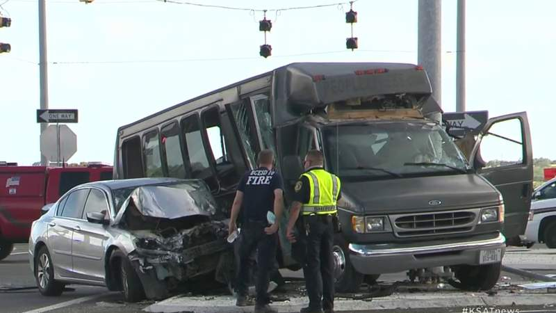 15 victims hospitalized after charter bus crash in east Bexar County