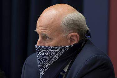U.S. Rep. Louie Gohmert, R-Texas, uses a face covering during a U.S. House Natural Resources Committee hearing in Washington, D.C. on June 29, 2020. (Michael Reynolds via REUTERS)