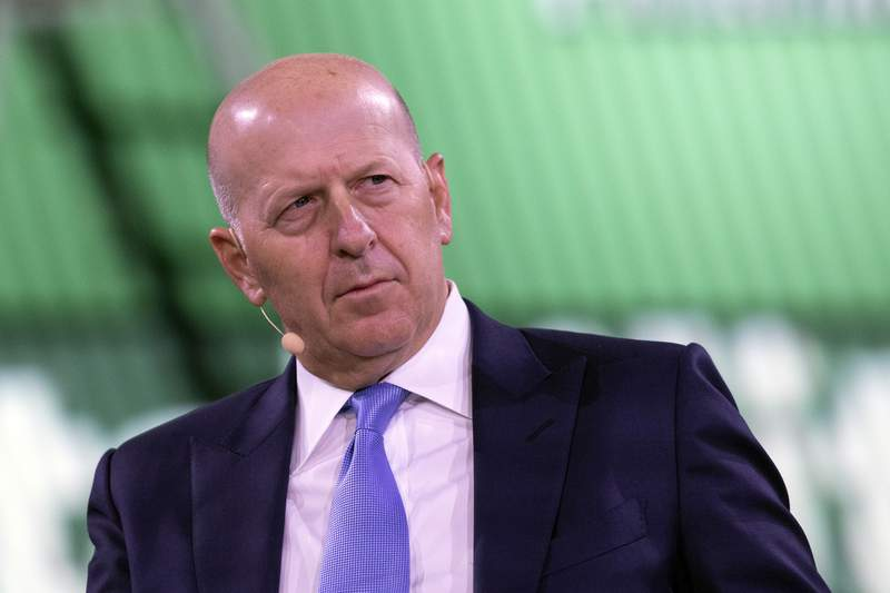 FILE - In this Sept. 25, 2019, file photo David Solomon, Chairman and CEO of Goldman Sachs, speaks at the Bloomberg Global Business Forum in New York. Goldman Sachs reports financial results Wednesday, Jan. 15, 2020. (AP Photo/Mark Lennihan, File)