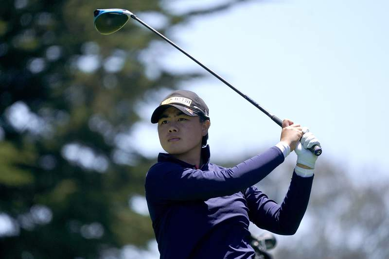 FILE - Yuka Saso, of the Philippines, plays her shot from the 10th tee during the final round of the U.S. Women's Open golf tournament at The Olympic Club in San Francisco, in this Sunday, June 6, 2021, file photo. Fresh off her first major at the U.S. Women's Open, Saso heads to Atlanta Athletic Club for a shot at another in the KPMG Women's PGA Championship. (AP Photo/Jeff Chiu, File)
