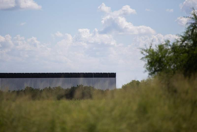 A section of the border wall in La Joya on Aug. 15, 2021.