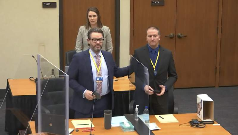 FILE - In this image taken from video, defense attorney Eric Nelson, left, defendant and former Minneapolis police officer Derek Chauvin, right, and Nelson's assistant Amy Voss, back, introduce themselves to potential jurors on Tuesday, March 23, 2021, as Hennepin County Judge PeterCahill presides over jury selection in the trial of Chauvin at the Hennepin County Courthouse in Minneapolis. Chauvin is charged in the May 25, 2020 death of George Floyd. The huge task for jurors at the trial of Chauvin showed during jury selection as some would-be jurors said they were unnerved by the very thought of being on the panel.  (Court TV, via AP, Pool)