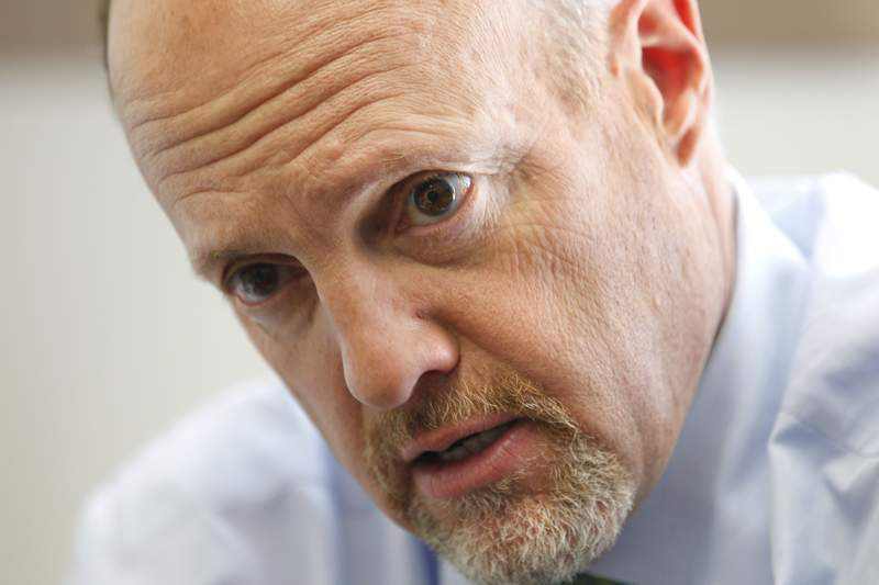 """FILE - In this Tuesday, Oct. 19, 2010, file photo, CNBC """"Mad Money"""" TV show host Jim Cramer speaks during an interview with The Associated Press at Tulane University in New Orleans. Cramer apologized Tuesday, Sept. 15, 2020, for calling House Speaker Nancy Pelosi crazy Nancy during an interview earlier in the day. (AP Photo/Gerald Herbert, File)"""