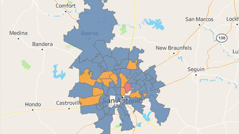 The ZIP codes with COVID-19 cases in Bexar County.