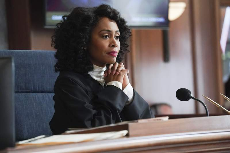 """This image released by CBS shows Simone Missick in a scene from """"All Rise."""" The CBS series will virtually produce an episode that reflects the worlds current state of the COVID-19 pandemic, social distancing and its impact on the criminal justice system. (Monty Brinton/CBS via AP)"""