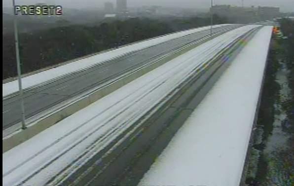 Snowy highway in San Antonio.