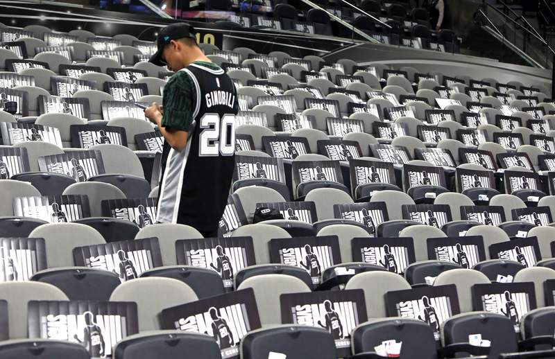 SAN ANTONIO, TX - MARCH 28:  Early fan prepares for game where Manu Ginobili, former San Antonio Spur will be honored after the game against the Cleveland Cavaliers at AT&T Center on March 28, 2019 in San Antonio, Texas. (Photo by Ronald Cortes/Getty Images)
