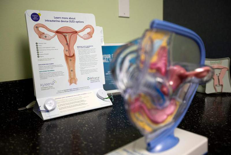 Information and diagrams inside a medical room at a Planned Parenthood in south Austin in 2020. (Credit: Eddie Gaspar/The Texas Tribune)