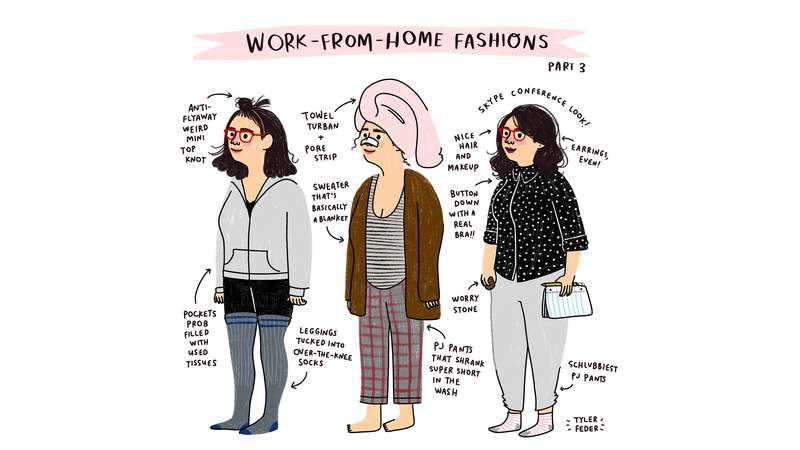 """""""All the looks are exact outfits I've worn,"""" said professional illustrator Tyler Feder. """"It was so surprising for me to see how many people commented saying they related!  I assumed I was alone in wearing schlubby PJ combos all the time."""""""