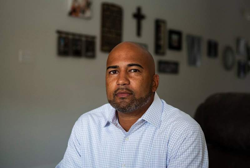 James Whitfield, 43, principal at Colleyville Heritage High School, has been placed on leave by the Garland-Colleyville ISD after being accused of teaching critical race theory at his high school. Photographed at his home in Hurst on Sept. 16, 2021.