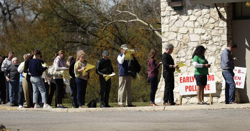 FILE - Voters wait in line at an early polling site in San Antonio, Friday, Feb. 28, 2020. (AP Photo/Eric Gay)