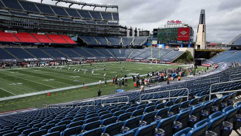 A general view of the game between the New England Patriots and the Las Vegas Raiders with empty stands at Gillette Stadium on September 27, 2020 in Foxborough, Massachusetts. (Photo by Maddie Meyer).