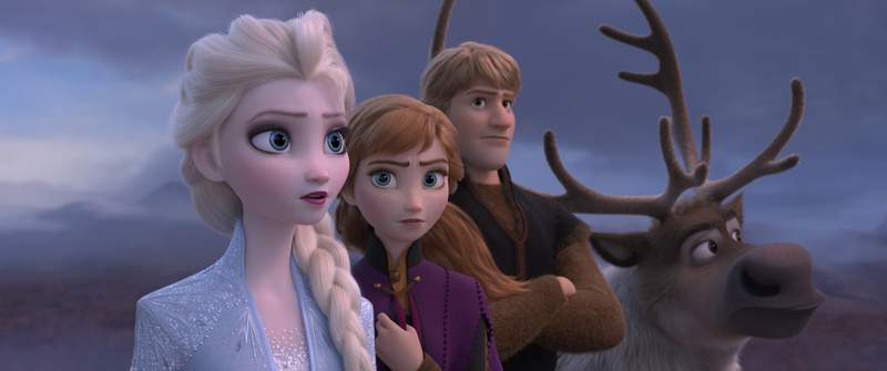 """This image released by Disney shows Elsa, voiced by Idina Menzel, from left, Anna, voiced by Kristen Bell, Kristoff, voiced by Jonathan Groff and Sven in a scene from the animated film, """"Frozen 2."""" The film failed to get an Oscar nomination for best animated feature. (Disney via AP)"""