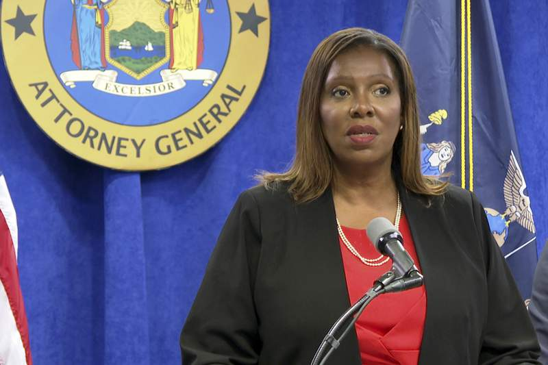 """FILE - New York State Attorney General Letitia James speaks at a news conference, Tuesday, Aug. 3, 2021, in New York. James dismissed criticism on Wednesday, Sept. 29, 2021, from former Gov. Andrew Cuomo about the bombshell report from her office that detailed sexual harassment allegations against Cuomo, saying the former governor has """"never taken responsibility for his own conduct."""" (AP Photo/Ted Shaffrey, File)"""