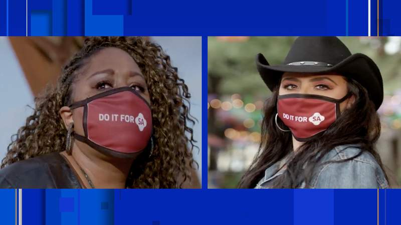 The city of San Antonio is partnering with local musicians (from left) Andrea Sanderson, Shelly Lares, and others to urge residents to do their part to combat COVID-19. (Credit: City of SA)