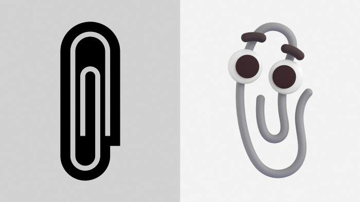 (Left) Paperclip emoji and (right) Clippy the paperclip.