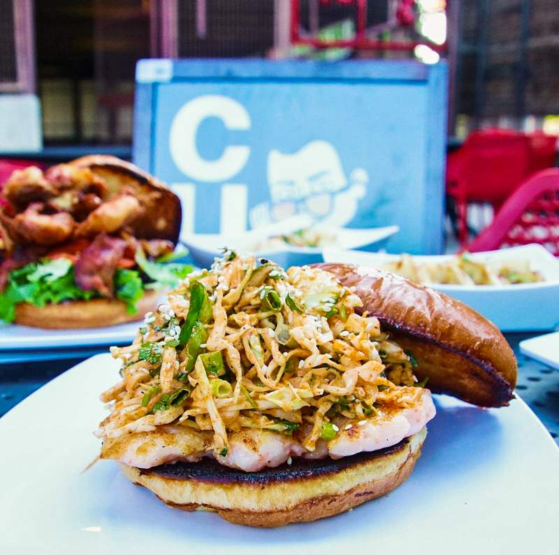 Curb food truck serves up a shrimp burger