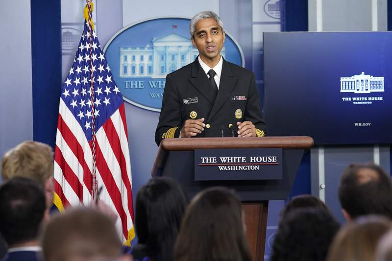 Surgeon General Dr. Vivek Murthy speaks during the daily briefing at the White House in Washington, Thursday, July 15, 2021. (AP Photo/Susan Walsh)