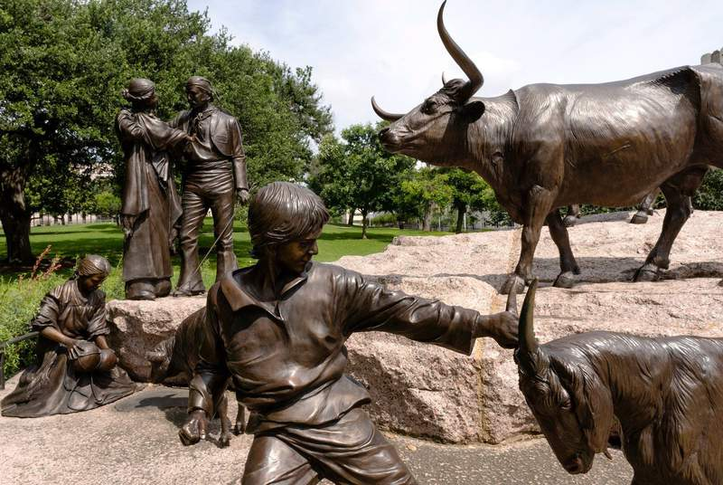 The Tejano Monument, commemorating the contributions that Tejanos made to Texas history and culture, sits on the southern lawn of the Texas Capitol on June 8, 2021.