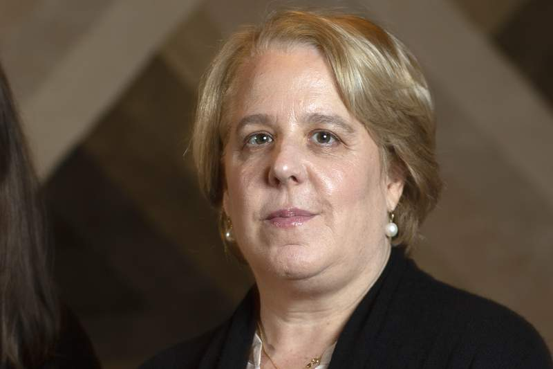 FILE - Roberta Kaplan poses for a photo in Atherton Calif., Tuesday, Nov. 12, 2019. The Time's Up leader resigned Monday, Aug. 9, 2021 over fallout from her work advising Gov. Andrew Cuomo's administration when he was first hit with sexual harassment allegations last year. Kaplan cited her work counseling Cuomo and his former top aide, Melissa DeRosa, through the attorney general's investigation, according to The New York Times. (AP Photo/D. Ross Cameron, File)