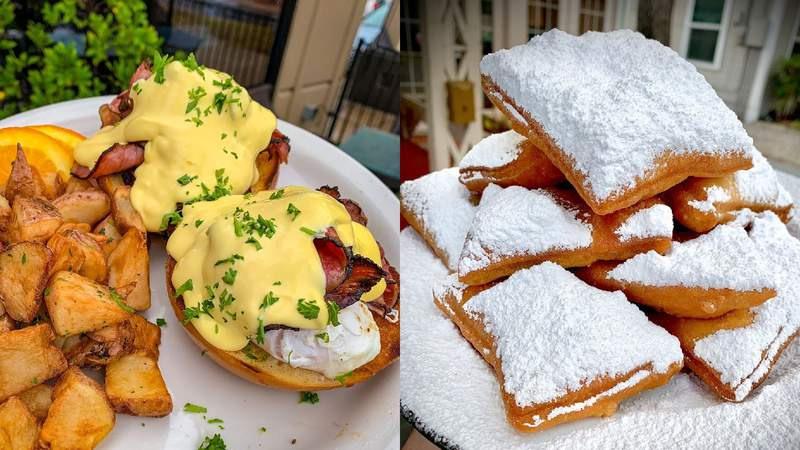 Pictured: Creamy hollandaise gets poured on top of house-made bagels, poached eggs and NY pastrami and served with roasted and seasoned potatoes! One of the best brunch dishes in SA!
