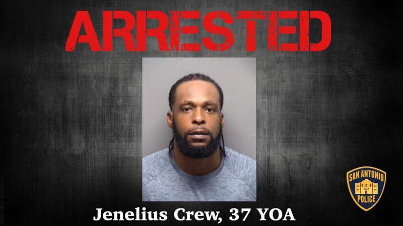 Jenelius Crew, 37, is accused of shooting a gun outside REBAR in San Antonio on Friday, June 12. He was captured in Florida and faces charges of aggravated assault with a deadly weapon, San Antonio police said.