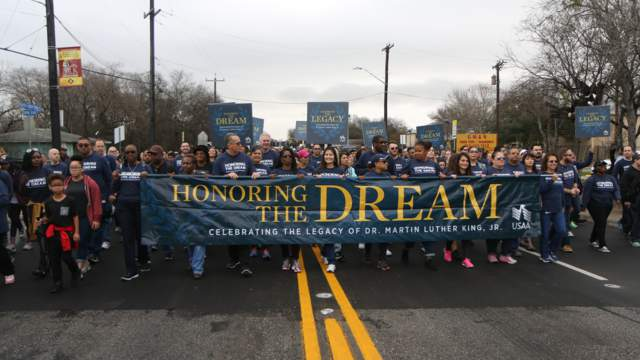 Image of a previous MLK March in San Antonio. This year the march is virtual due to COVID-19.