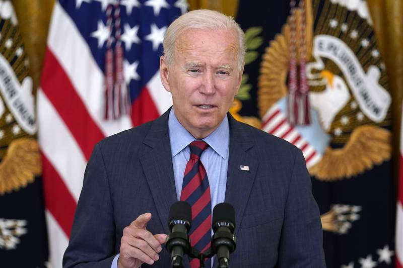 President Joe Biden speaks about the coronavirus pandemic in the East Room of the White House in Washington, Tuesday, Aug. 3, 2021. (AP Photo/Susan Walsh)