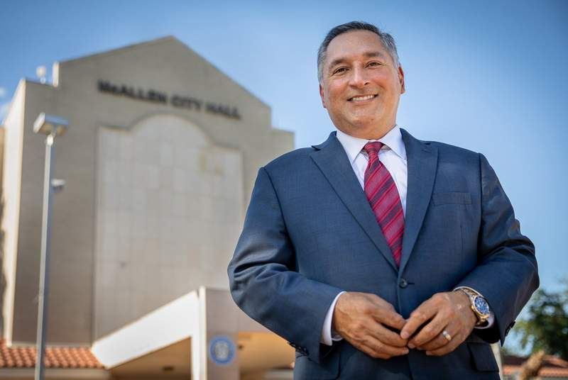 Newly-elected McAllen Mayor Javier Villalobos at  City Hall on June 11, 2021.