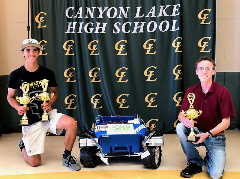 Canyon Lake High School seniors pictured from left, James Lalonde and Pierce Heller, were part of the engineering team which won three awards for its autonomous vehicle in a national competition. Other members not pictured include Angilina Abolos and Dalton Stanley.
