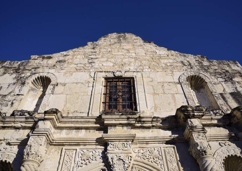 FILE - The facade of Mission San Antonio de Valero, better known as The Alamo in 2018. The former Franciscan mission was the site of the Battle of the Alamo in 1836 during Texas' war for independence from Mexico where Texian defenders were defeated by Mexican troops under General Antonio Lopez de Santa Anna. (Photo by Robert Alexander/Getty Images)