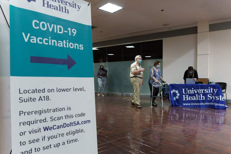 People check in for their COVID-19 vaccine appointments at University Health's mass vaccine site at Wonderland Mall. Courtesy: Mark Greenberg, Photographer / Visual Content Creator, University Health