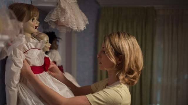"""32. """"Annabelle."""" A couple begins to experience terrifying supernatural occurrences involving a vintage doll shortly after their home is invaded by satanic cultists. $84.3 million."""